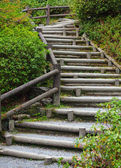 Wooden staircase to mountian — Zdjęcie stockowe
