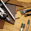 Stock Photo: Leather craft equipment