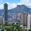 Stock Photo: Kowloon side with moutain lion rock in Hong Kong