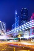 Hong Kong with traffic trail at night — Stock Photo