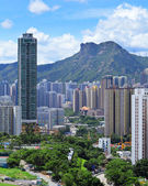 Kowloon side with moutain lion rock in Hong Kong — Stock Photo
