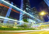 Hong Kong with car light — Stock Photo