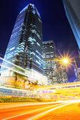Traffic trail in Hong Kong at night — Stock Photo