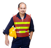 Site worker with safety helmet — Stock Photo
