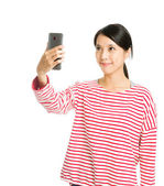 Asian woman taking photo by mobile — Stock Photo
