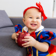 Stock Photo: Cute baby girl with apple