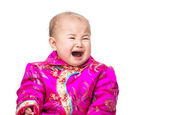 Chinese baby crying with traditional costume — Stock Photo