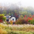 Wooden house in forest during autumn — Stock Photo