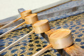 Bamboo ladle in japanese temple — Stock Photo