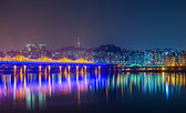 Seoul city at night — Stok fotoğraf