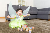 Asian baby girl crying with halloween party dressing — Stock Photo