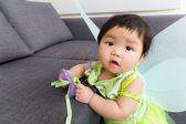 Asia baby girl with party dressing — Stock Photo