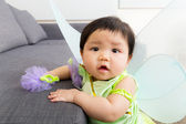 Asia baby girl with halloween party costume — Stok fotoğraf