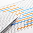 Stock Photo: Gantt chart and pen