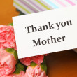 Thank you card mother with carnation and gift box — Stock Photo #41466937
