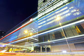 Fast moving car light in city — Foto de Stock
