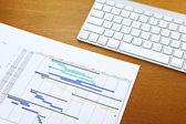 Gantt chart and keyboard — Stockfoto