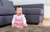 Asia baby crying at home — Stock Photo