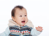 Baby girl crying isolated on white — Stock Photo
