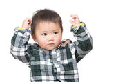 Asian baby boy thinking — Stock Photo