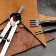Homemade leathercraft equipment — Stock Photo