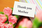 Thank you card and carnation — Foto de Stock