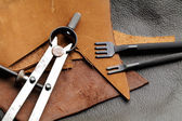 Homemade leathercraft equipment — Stock Photo