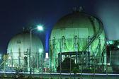 Gas tank at night — Stock Photo