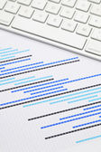 Gantt chart with keyboard — Stock Photo