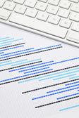 Gantt grafiği ile klavye — Stok fotoğraf