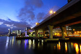 Viaduct in city at night — Stock Photo