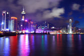 гонконгский горизонт ночью — Стоковое фото