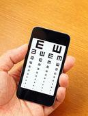 Eyechart on mobile — Stock Photo