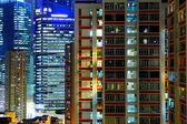 Hong Kong apartment block at night — Stock Photo