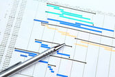Gantt chart and pen — Stock Photo