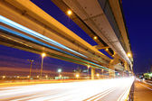 Elevated freeway with traffic trail  — Stock Photo