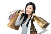 Asian woman with lots of shopping bag — Stock Photo