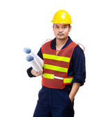 Asian construction worker with layout drawing — Stock Photo