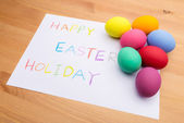 Colourful easter egg and kid drawing — Stock Photo