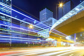 Fast moving car light in Hong Kong — Stock Photo