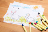 Children hand drawing for easter holiday — Stock Photo
