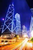 Hong Kong urban city with traffic trail — Stock Photo