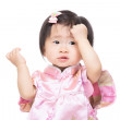 Chinese baby girl touch her head — Stock Photo #42885867