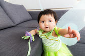 Asian baby girl with halloween party dressing — Photo