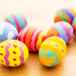 Children painted easter eggs — Stock Photo