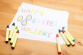 Children drawing for easter holiday — Stock Photo
