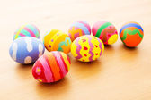 Kid painted easter eggs — 图库照片