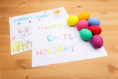Kid drawing for easter holiday — Stockfoto