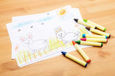 Children drawing for ester holiday — Stockfoto