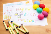 Children drawing and ester eggs — Stock Photo